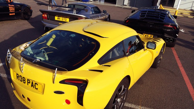 Collection of cars at Silverstone Sunday service